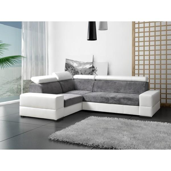 Canape Angle Blanc Et Gris Firstcdiscount