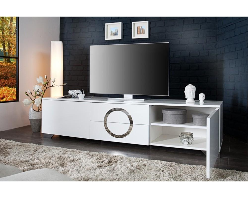 Meuble Tv 180 Cm Blanc Firstcdiscount # Meuble Tv Motorise