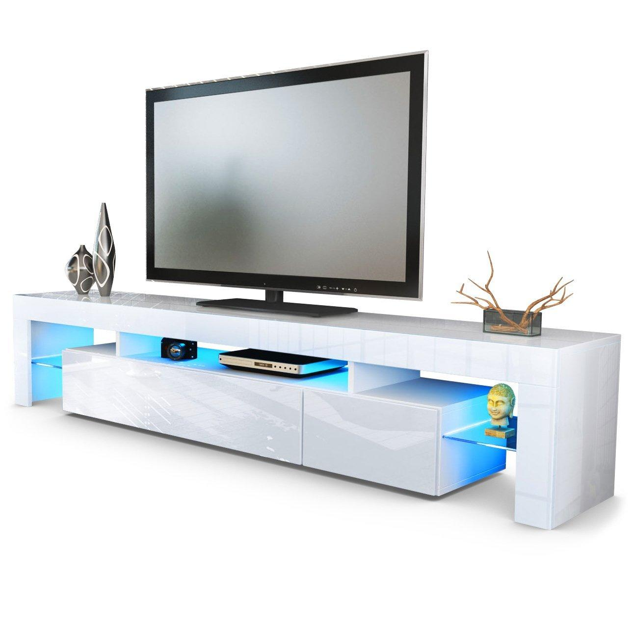 Meuble Tv Blanc A Led Firstcdiscount # Meuble Ovio Blanc