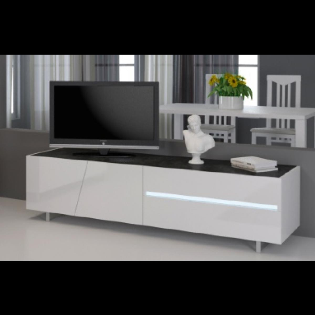 Meuble Tv Blanc Laqu 160 Cm Firstcdiscount # Meuble Tv Contemporain Blanc