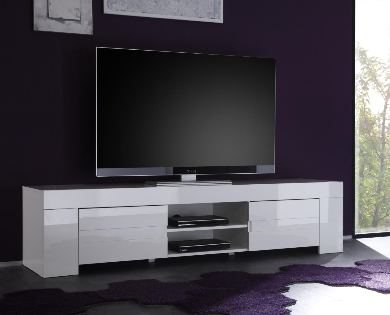Meuble Tv Blanc Laqu 160 Cm Firstcdiscount # Meuble Suspendu Tv