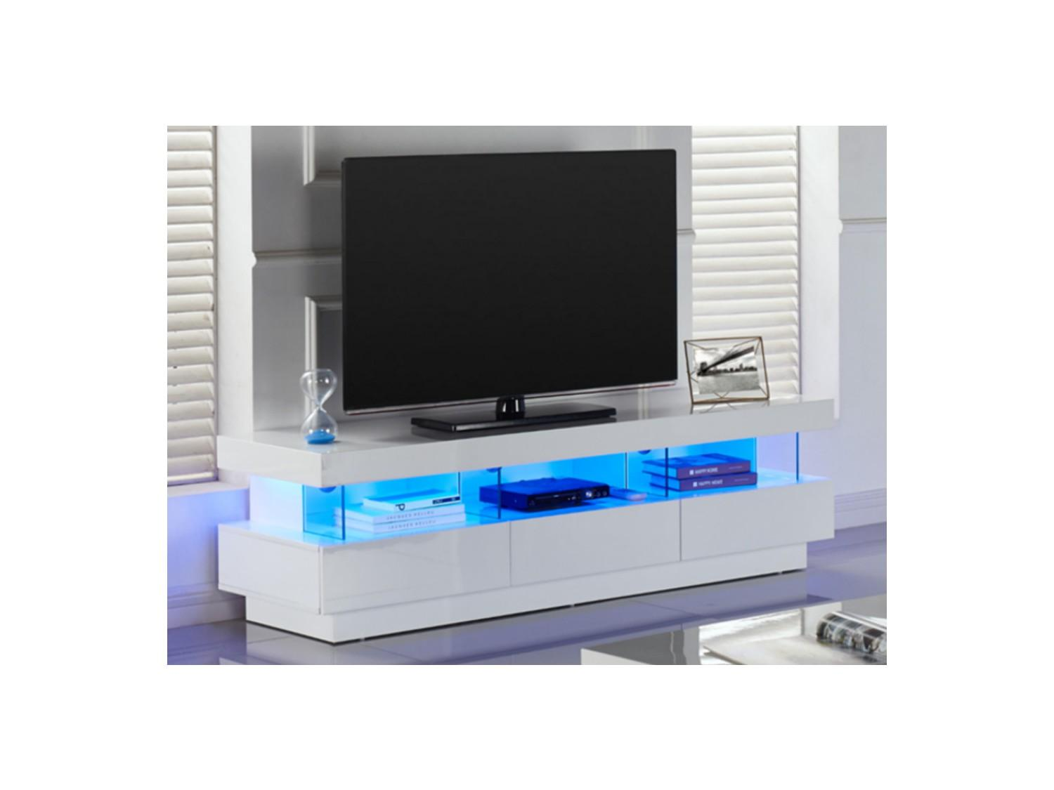 Meuble Tv Blanc Led Firstcdiscount # Meuble Tv Cdiscount Blanc
