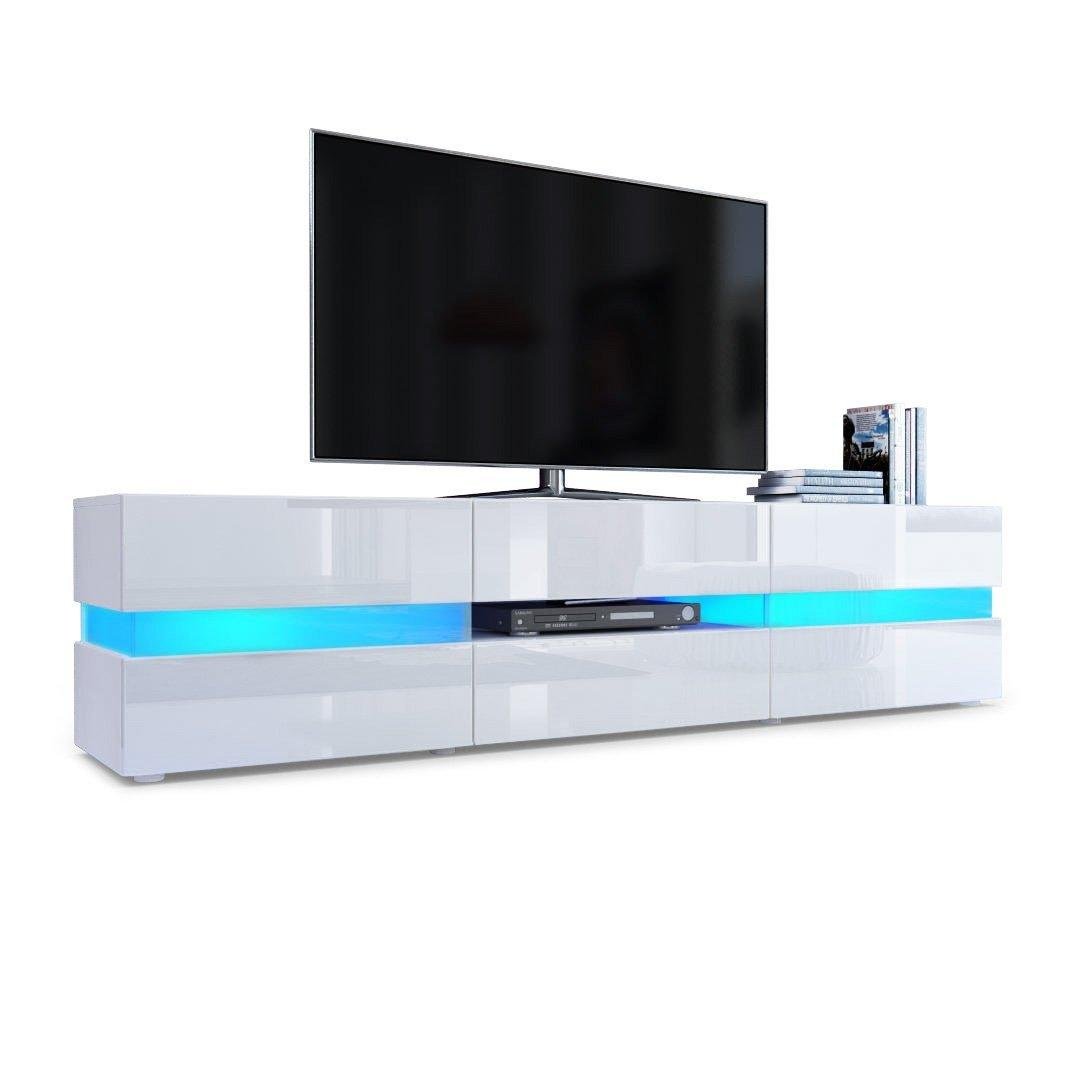 Meuble Tv Led Blanc Laqu Firstcdiscount # Meuble Tv Led Blanc Laque